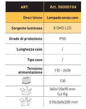 LAMPADA PORTATILE SMD LED 230V SENZA CAVO
